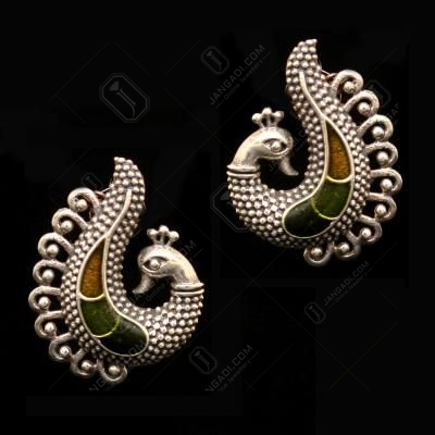 OXIDIZED SILVER PEACOCK CASUAL EARRINGS