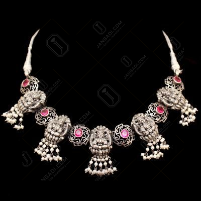 OXIDIZRD SILVER RED CORUNDUM LAKSHMI NAKASH WITH PEARL BEADS