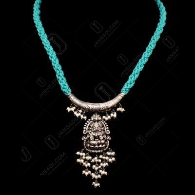 OXIDIZED SILVER LAKSHMI NAKASH THREAD NECKLACE WITH PEARL BEADS