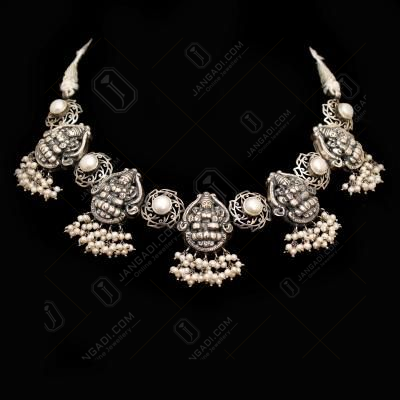 OXIDIZED SILVER LAKSHMI NAKASH NECKLACE PEARL BEADS
