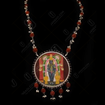 OXIDIZED SILVER HAND PAINTED LORD GURUVAYURAPPAN NECKLACE WITH RUDHRAKSH AND PEARL BEADS