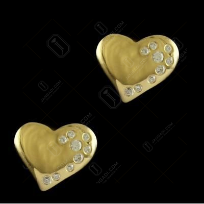 E5653 Sterling Silver Gold Plated  Heart Shape earrings Studded Zircon Stones