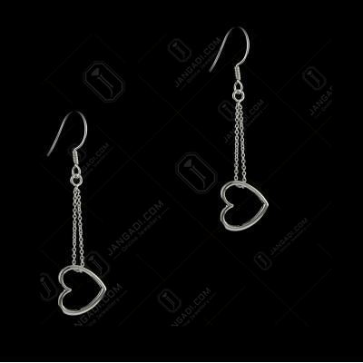 E5639 Sterling Silver Hanging Heart Shape Earrings
