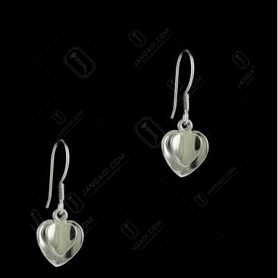 E5638 Sterling Silver Heart Shape Earrings