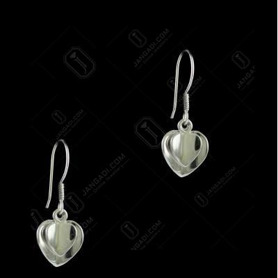 E5638 Sterling Silver Heart Shape Earrings